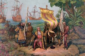 Columbus arriveert in Amerika.
